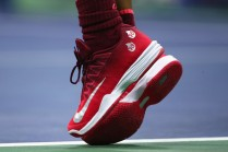 A detailed view of the sneakers of Rafael Nadal of Spain as he serves against Juan Martin del Potro of Argentina during their Men's Singles Semifinal match on Day Twelve of the 2017 US Open at the USTA Billie Jean King National Tennis Center on September 8, 2017 in the Flushing neighborhood of the Queens borough of New York City. (Sept. 7, 2017 - Source: Clive Brunskill/Getty Images North America)