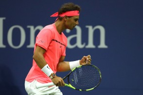 Rafael Nadal of Spain reacts during his third round match against Florian Mayer of Germany on Day Six of the 2017 US Open at the USTA Billie Jean King National Tennis Center on September 2, 2017 in the Flushing neighborhood of the Queens borough of New York City. (Sept. 1, 2017 - Source: Abbie Parr/Getty Images North America)