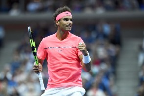 Spain's Rafael Nadal reacts to winning a point against Argentina's Leonardo Mayer during their 2017 US Open Men's Singles match at the USTA Billie Jean King National Tennis Center in New York on September 2, 2017. / AFP PHOTO / Jewel SAMAD
