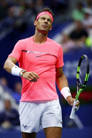 Rafael Nadal of Spain reacts during his third round match against Leonardo Mayer of Argentina on Day Six of the 2017 US Open at the USTA Billie Jean King National Tennis Center on September 2, 2017 in the Flushing neighborhood of the Queens borough of New York City. (Sept. 1, 2017 - Source: Clive Brunskill/Getty Images North America)