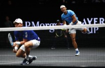 Rafael Nadal serves playing with Tomas Berdych of Team Europe during there doubles match against Nick Kyrgios ans Jack Sock of Team World on the first day of the Laver Cup on September 22, 2017 in Prague, Czech Republic. The Laver Cup consists of six European players competing against their counterparts from the rest of the World. Europe will be captained by Bjorn Borg and John McEnroe will captain the Rest of the World team. The event runs from 22-24 September. (Sept. 21, 2017 - Source: Clive Brunskill/Getty Images Europe)