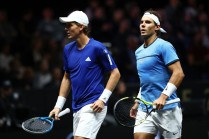 Rafael Nadal and Tomas Berdych of Team Europe during there doubles match against Nick Kyrgios ans Jack Sock of Team World on the first day of the Laver Cup on September 22, 2017 in Prague, Czech Republic. The Laver Cup consists of six European players competing against their counterparts from the rest of the World. Europe will be captained by Bjorn Borg and John McEnroe will captain the Rest of the World team. The event runs from 22-24 September. (Sept. 21, 2017 - Source: Clive Brunskill/Getty Images Europe)