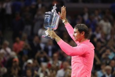 Rafael Nadal of Spain poses with the championship trophy during the trophy ceremony after their Men's Singles Finals match on Day Fourteen of the 2017 US Open at the USTA Billie Jean King National Tennis Center on September 10, 2017 in the Flushing neighborhood of the Queens borough of New York City. Rafael Nadal defeated Kevin Anderson in the third set with a score of 6-3, 6-3, 6-4. (Sept. 9, 2017 - Source: Matthew Stockman/Getty Images North America)