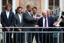 Former Tennis player, Rod Laver waves to fans ahead of the Laver Cup on September 20, 2017 in Prague, Czech Republic. The Laver Cup consists of six European players competing against their counterparts from the rest of the World. Europe will be captained by Bjorn Borg and John McEnroe will captain the Rest of the World team. The event runs from 22-24 September. (Sept. 19, 2017 - Source: Julian Finney/Getty Images Europe)