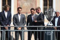 Rafael Nadal of Spain speak to fans ahead of the Laver Cup on September 20, 2017 in Prague, Czech Republic. The Laver Cup consists of six European players competing against their counterparts from the rest of the World. Europe will be captained by Bjorn Borg and John McEnroe will captain the Rest of the World team. The event runs from 22-24 September. (Sept. 19, 2017 - Source: Julian Finney/Getty Images Europe)