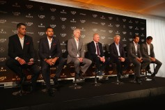 (l-R) John Isner of United States, Nick Kyrgios of Australia, John McEnroe of United States, Rod Laver, Bjorn Borg of Sweden, Rafael Nadal of Spain and Roger Federer of Switzerland looks on during a press conference ahead of the Laver Cup on September 20, 2017 in Prague, Czech Republic. The Laver Cup consists of six European players competing against their counterparts from the rest of the World. Europe will be captained by Bjorn Borg and John McEnroe will captain the Rest of the World team. The event runs from 22-24 September. (Sept. 19, 2017 - Source: Clive Brunskill/Getty Images Europe)