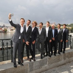 Team Europe take a selfie during a photoshoot ahead of the Laver Cup on September 20, 2017 in Prague, Czech Republic. The Laver Cup consists of six European players competing against their counterparts from the rest of the World. Europe will be captained by Bjorn Borg and John McEnroe will captain the Rest of the World team. The event runs from 22-24 September. (Sept. 19, 2017 - Source: Julian Finney/Getty Images Europe)
