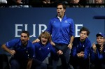 Marin Cilic, Alexander Zverev, Roger Federer, Dominic Thiem and Tomas Berdych of Team Europe support Rafael Nadal of Team Europe as he plays his singles match against Jack Sock of Team World on Day 2 of the Laver Cup on September 23, 2017 in Prague, Czech Republic. The Laver Cup consists of six European players competing against their counterparts from the rest of the World. Europe will be captained by Bjorn Borg and John McEnroe will captain the Rest of the World team. The event runs from 22-24 September. (Sept. 22, 2017 - Source: Julian Finney/Getty Images Europe)