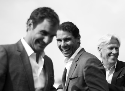 Rafael Nadal, Roger Federer and Bjorn Borg of Team Europe enjoy a joke during previews on September 20, 2017 in Prague, Czech Republic. (Sept. 19, 2017 - Source: Julian Finney/Getty Images Europe)