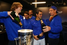 Alexander Zverev, Rafael Nadal, Roger Federer and Tomas Berdych of Team Europe drink champagne after winning the Laver Cup on the final day of the Laver cup on September 24, 2017 in Prague, Czech Republic. The Laver Cup consists of six European players competing against their counterparts from the rest of the World. Europe will be captained by Bjorn Borg and John McEnroe will captain the Rest of the World team. The event runs from 22-24 September. (Sept. 23, 2017 - Source: Clive Brunskill/Getty Images Europe)