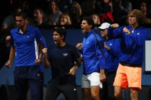 Marin Cilic, Fernando Verdasco, Rafael Nadal, Dominic Thiem, Alexander Zverev of Team Europe celebrates with Team Europe team mates during the mens singles match between Roger Federer and Nick Kyrgios of Team World on the final day of the Laver cup on September 24, 2017 in Prague, Czech Republic. The Laver Cup consists of six European players competing against their counterparts from the rest of the World. Europe will be captained by Bjorn Borg and John McEnroe will captain the Rest of the World team. The event runs from 22-24 September. (Sept. 23, 2017 - Source: Clive Brunskill/Getty Images Europe)