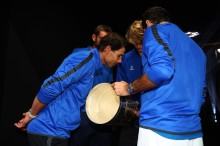 Alexander Zverev, Rafael Nadal, Roger Federer and Marin Cilic of Team Europe look at the trophy after winning the Laver Cup on the final day of the Laver cup on September 24, 2017 in Prague, Czech Republic. The Laver Cup consists of six European players competing against their counterparts from the rest of the World. Europe will be captained by Bjorn Borg and John McEnroe will captain the Rest of the World team. The event runs from 22-24 September. (Sept. 23, 2017 - Source: Clive Brunskill/Getty Images Europe)