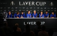 Tomas Berdych, Alexander Zverev, Dominic Thiem, Thomas Enqvist, Bjorn Borg, Rafael Nadal, Marin Cilic and Roger Federer of Team Europe attend a press conference after winning the Laver Cup trophy on the final day of the Laver cup on September 24, 2017 in Prague, Czech Republic. The Laver Cup consists of six European players competing against their counterparts from the rest of the World. Europe will be captained by Bjorn Borg and John McEnroe will captain the Rest of the World team. The event runs from 22-24 September. (Sept. 23, 2017 - Source: Clive Brunskill/Getty Images Europe)
