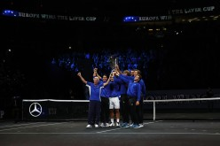 Marin Cilic, Bjorn Borg, Rafael Nadal, Roger Federer, Alexander Zverev, Tomas Berdych and Dominic Thiem of Team Europe lift the Laver Cup trophy on the final day of the Laver cup on September 24, 2017 in Prague, Czech Republic. The Laver Cup consists of six European players competing against their counterparts from the rest of the World. Europe will be captained by Bjorn Borg and John McEnroe will captain the Rest of the World team. The event runs from 22-24 September. (Sept. 23, 2017 - Source: Julian Finney/Getty Images Europe)