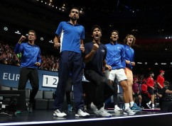 Thomas Enqvist, Marin Cilic, Fernando Verdasco, Rafael Nadal of Team Europe celebrate as Roger Federer of Team Europe wins his mens singles match against Nick Kyrgios of Team World on the final day of the Laver cup on September 24, 2017 in Prague, Czech Republic. The Laver Cup consists of six European players competing against their counterparts from the rest of the World. Europe will be captained by Bjorn Borg and John McEnroe will captain the Rest of the World team. The event runs from 22-24 September. (Sept. 23, 2017 - Source: Julian Finney/Getty Images Europe)