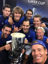Team Europe selfie photo Federer Nadal Borg Zverev Thiem Berdych Cilic 2017