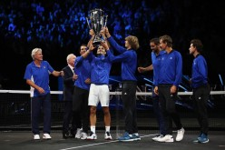 Marin Cilic, Bjorn Borg, Rafael Nadal, Rod Laver, Roger Federer, Alexander Zverev, Tomas Berdych and Dominic Thiem of Team Europe lift the Laver Cup trophy on the final day of the Laver cup on September 24, 2017 in Prague, Czech Republic. The Laver Cup consists of six European players competing against their counterparts from the rest of the World. Europe will be captained by Bjorn Borg and John McEnroe will captain the Rest of the World team. The event runs from 22-24 September. (Sept. 23, 2017 - Source: Julian Finney/Getty Images Europe)