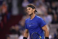 Rafael Nadal of Spain reacts in the Men's Single Final against Roger Federer of Switzerland on Day 8 of the 2017 ATP 1000 Shanghai Rolex Masters on October 15, 2017 at Qizhong Stadium in Shanghai, China. (Oct. 14, 2017 - Source: Kevin Lee/Getty Images AsiaPac)