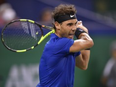 Rafael Nadal of Spain returns a shot to Roger Federer of Switzerland during the Men's Single Final on Day 8 of the 2017 ATP 1000 Shanghai Rolex Masters on October 15, 2017 at Qizhong Stadium in Shanghai, China. (Oct. 14, 2017 - Source: Kevin Lee/Getty Images AsiaPac)
