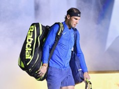 Rafael Nadal of Spain enters the court for the Men's Single Final against Roger Federer of Switzerland during the Men's Single Final on Day 8 of the 2017 ATP 1000 Shanghai Rolex Masters on October 15, 2017 at Qizhong Stadium in Shanghai, China. (Oct. 14, 2017 - Source: Kevin Lee/Getty Images AsiaPac)