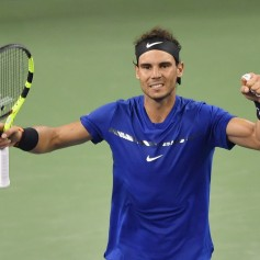 Rafael Nadal of Spain celebrates after defeating Marin Cilic of Croatia during Men's Single Semi-Final on Day 7 of 2017 ATP 1000 Shanghai Rolex Masterson October 14, 2017 at Qizhong Stadium in Shanghai, China. (Oct. 13, 2017 - Source: Kevin Lee/Getty Images AsiaPac)