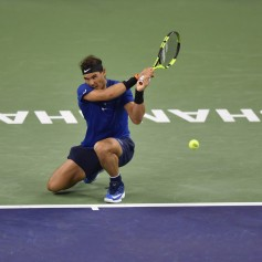 Rafael Nadal of Spain returns a shot during the Men's Single Semi-Final match between Rafael Nadal of Spain and Marin Cilic of Croatia on Day 7 of 2017 ATP 1000 Shanghai Rolex Masters on October 14, 2017 at Qizhong Stadium in Shanghai, China. (Oct. 13, 2017 - Source: Kevin Lee/Getty Images AsiaPac)