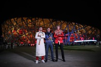(L-R) Grigor Dimitrov of Bulgaria, Rafael Nadal of Spain, Juan Martin Del Potro of Argentina and Alexander Zverev of Germany, poses for a picture front of the National Stadium before the 2017 China Open Player Party on October 1, 2017 in Beijing, China. (Sept. 30, 2017 - Source: Lintao Zhang/Getty Images AsiaPac)