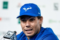 Rafael Nadal of Spain attends a press conference after winning against Lucas Pouille of France during their MenÕs singles first round match on day four of the 2017 China Open at the China National Tennis Centre on October 3, 2017 in Beijing, China. (Oct. 2, 2017 - Source: Etienne Oliveau/Getty Images AsiaPac)