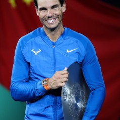 Rafael Nadal of Spain reacts during the award ceremony after losing his Men's singles final match against Roger Federer of Switzerland on day eight of 2017 ATP Shanghai Rolex Masters at Qizhong Stadium on October 15, 2017 in Shanghai, China. (Oct. 14, 2017 - Source: Lintao Zhang/Getty Images AsiaPac)