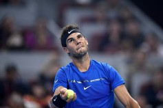 Rafael Nadal of Spain serves during his Men's Singles Semifinal match against Grigor Dimitrov of Bulgaria on day eight of 2017 China Open at the China National Tennis Centre on October 7, 2017 in Beijing, China. (Oct. 6, 2017 - Source: Etienne Oliveau/Getty Images AsiaPac)