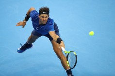 Rafael Nadal of Spain returns a shot against Karen Khachanov of Russia during the Men's singles 2rd round on day six of 2017 China Open at the China National Tennis Centre on October 5, 2017 in Beijing, China. (Oct. 4, 2017 - Source: Lintao Zhang/Getty Images AsiaPac)