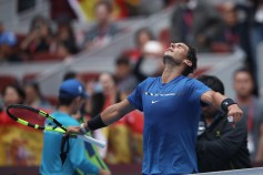 Rafael Nadal of Spain celebrates after winning the Men's singles Quarterfinals match against John Isner of the United States on day seven of 2017 China Open at the China National Tennis Centre on October 6, 2017 in Beijing, China. (Oct. 5, 2017 - Source: Lintao Zhang/Getty Images AsiaPac)