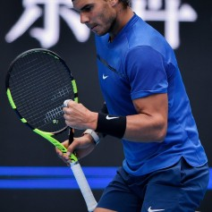 Rafael Nadal of Spain reacts during his Men's singles quarterfinal match against John Isner of the United States on day seven of the 2017 China Open at the China National Tennis Centre on October 6, 2017 in Beijing, China. (Oct. 5, 2017 - Source: Etienne Oliveau/Getty Images AsiaPac)