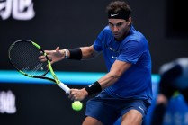 Rafael Nadal of Spain returns a shot during his Men's singles quarterfinal match against John Isner of the United States on day seven of the 2017 China Open at the China National Tennis Centre on October 6, 2017 in Beijing, China. (Oct. 5, 2017 - Source: Etienne Oliveau/Getty Images AsiaPac)