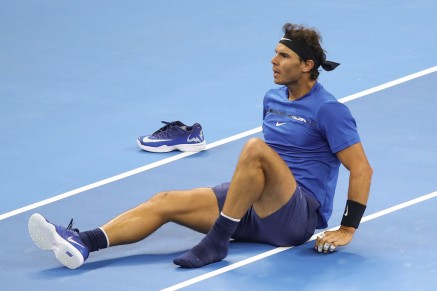 Rafael Nadal of Spain slips fall during against Lucas Pouille of France in the Men's singles first round on day four of 2017 China Open at the China National Tennis Centre on October 3, 2017 in Beijing, China. (Oct. 2, 2017 - Source: Lintao Zhang/Getty Images AsiaPac)