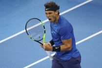 Rafael Nadal of Spain celebrates a point against Lucas Pouille of France during the Men's singles first round on day four of 2017 China Open at the China National Tennis Centre on October 3, 2017 in Beijing, China. (Oct. 2, 2017 - Source: Lintao Zhang/Getty Images AsiaPac)