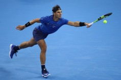 Rafael Nadal of Spain returns a shot against Lucas Pouille of France during the Men's singles first round on day four of 2017 China Open at the China National Tennis Centre on October 3, 2017 in Beijing, China. (Oct. 2, 2017 - Source: Lintao Zhang/Getty Images AsiaPac)