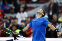 Rafael Nadal of Spain celebrates after winning the Lucas Pouille of France during the Men's singles first round on day four of 2017 China Open at the China National Tennis Centre on October 3, 2017 in Beijing, China. (Oct. 2, 2017 - Source: Lintao Zhang/Getty Images AsiaPac)