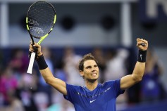 Rafael Nadal of Spain celebrates after winning the Men's singles Semifinal mach against Marin Cilic of Coratia on day seven of 2017 ATP Shanghai Rolex Masters at Qizhong Stadium on October 14, 2017 in Shanghai, China. (Oct. 13, 2017 - Source: Lintao Zhang/Getty Images AsiaPac)