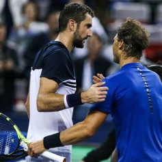 SHANGHAI, CHINA - OCTOBER 14: Rafael Nadal of Spain shakes hands with his opponent after winning his Men's singles semi-final match against Marin Cilic of Croatia on day 7 of 2017 ATP Shanghai Rolex Masters at Qizhong Stadium on October 14, 2017 in Shanghai, China. (Photo by Yifan Ding/Getty Images)