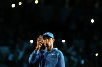 SHANGHAI, CHINA - OCTOBER 14: Rafael Nadal of Spain takes pictures after winning his Men's singles semi-final match against Marin Cilic of Croatia on day 7 of 2017 ATP Shanghai Rolex Masters at Qizhong Stadium on October 14, 2017 in Shanghai, China. (Photo by Yifan Ding/Getty Images)