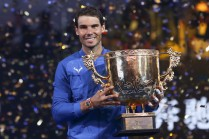 Rafael Nadal of Spain hold the winners trophy after winning the Men's Singles final against Nick Kyrgios of Australia on day nine of the 2017 China Open at the China National Tennis Centre on October 8, 2017 in Beijing, China. (Oct. 7, 2017 - Source: Lintao Zhang/Getty Images AsiaPac)