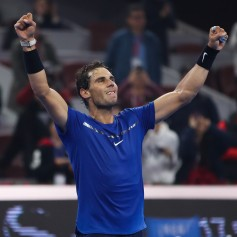 Rafael Nadal of Spain celebrates after winning the Men's Singles final against Nick Kyrgios of Australia on day nine of the 2017 China Open at the China National Tennis Centre on October 8, 2017 in Beijing, China. (Oct. 7, 2017 - Source: Lintao Zhang/Getty Images AsiaPac)