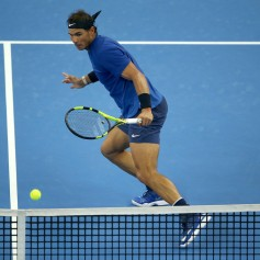 Rafael Nadal of Spain returns a shot against Nick Kyrgios of Australia during the Men's singles final match on day nine of the 2017 China Open at the China National Tennis Centre on October 8, 2017 in Beijing, China. (Oct. 7, 2017 - Source: Emmanuel Wong/Getty Images AsiaPac)
