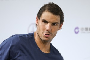 Rafael Nadal of Spain attends a press conference after losing the Men's singles final mach against Roger Federer of Switzerland on day eight of 2017 ATP Shanghai Rolex Masters at Qizhong Stadium on October 15, 2017 in Shanghai, China. (Oct. 14, 2017 - Source: Lintao Zhang/Getty Images AsiaPac)