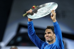 SHANGHAI, CHINA - OCTOBER 15: Rafael Nadal of Spain poses with runner-up trophy during the award ceremony after losing his Men's singles final match against Roger Federer of Switzerland on day 8 of 2017 ATP Shanghai Rolex Masters at Qizhong Stadium on October 15, 2017 in Shanghai, China. (Photo by Yifan Ding/Getty Images)
