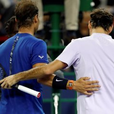 Tennis - Shanghai Masters tennis tournament - Men's Singles Finals - Shanghai, China - October 15, 2017 - Winner Roger Federer of Switzerland and Rafael Nadal of Spain after the match. REUTERS/Aly Song