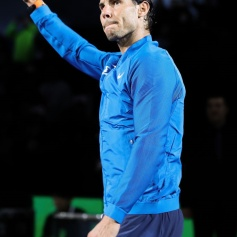 SHANGHAI, CHINA - OCTOBER 15: Rafael Nadal of Spain reacts during the award ceremony after losing his Men's singles final match against Roger Federer of Switzerland on day eight of 2017 ATP Shanghai Rolex Masters at Qizhong Stadium on October 15, 2017 in Shanghai, China. (Photo by Lintao Zhang/Getty Images)