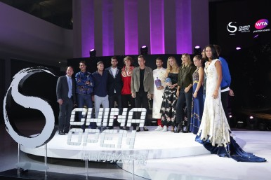 (L-R) Michael Chang of the United States, Rafael Nadal of Spain, Pablo Carreno Busta of Spain, Juan Martin Del Potro of Argentina, Alexander Zverev of Germany, Tomas Berdych of the Czech Republic, Grigor Dimitrov of Bulgaria, Petra Kvitova of Czech Republic, Maria Sharapova of Russia, Jelena Ostapenko of Latvia, Nick Kyrgios of Australia and Zhang Shuai of China pose for a group picture during the 2017 China Open Player Party at Beijing Olympic Tower on October 1, 2017 in Beijing, China. (Sept. 30, 2017 - Source: Lintao Zhang/Getty Images AsiaPac)