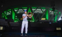 Rafael Nadal of Spain poses for a picture with the winner's trophy after winning the Men's Singles final against Nick Kyrgios of Australia on day nine of the 2017 China Open at the China National Tennis Centre on October 8, 2017 in Beijing, China. (Oct. 7, 2017 - Source: Etienne Oliveau/Getty Images AsiaPac)